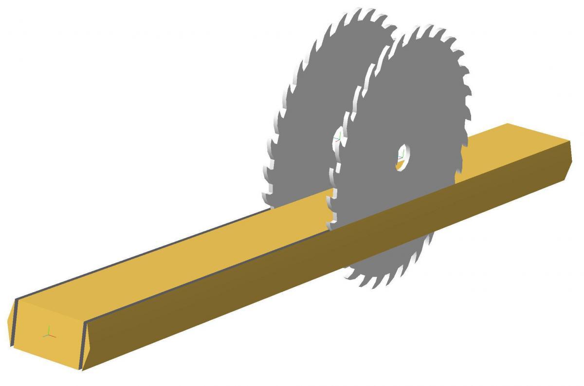 Принцип распиловки станка  для обработки тонкомера СБ-25