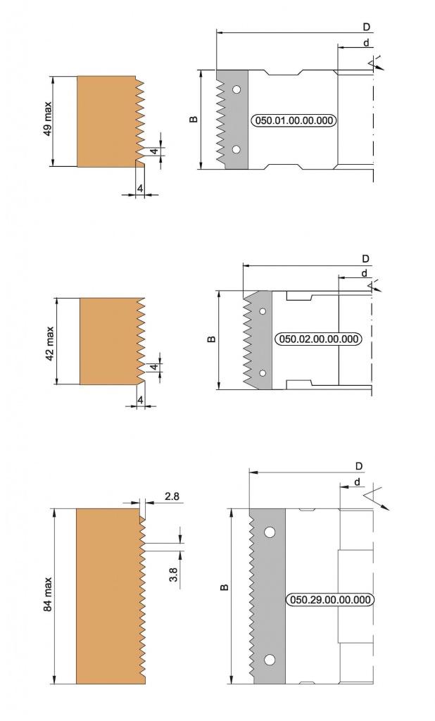 Фреза с механическим креплением ножей, для сращивания древесины по ширине