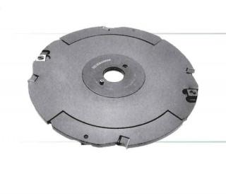 Фреза пазовая дисковая составная с механическим креплением твердосплавных ножей и подрезателей, регулируемая по ширине