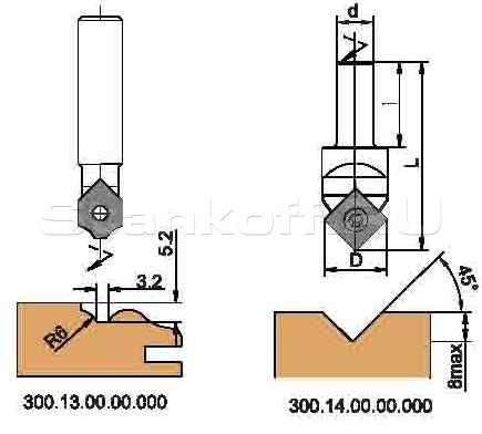 Фрезы концевые профильные, с механическим креплением пластин твердого сплава, для обработки на фрезерно-копировальных станках с ЧПУ