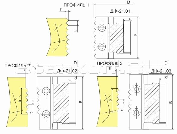 Фрезы сборные для обработки микрошипов для сращивания древесины ДФ-21.01, ДФ-21.02, ДФ-21.03