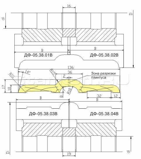 Комплект фрез для изготовления европлинтуса ДФ-05.38 В