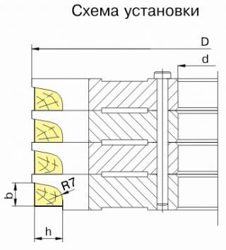 Комплект фрез для изготовления оконного штапика ДФ-01.31, ДФ-01.32, ДФ-01.33