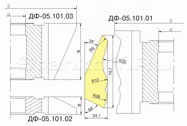 Комплект фрез для изготовления плинтуса с напайными пластинами Р6М5 ДФ-05.101