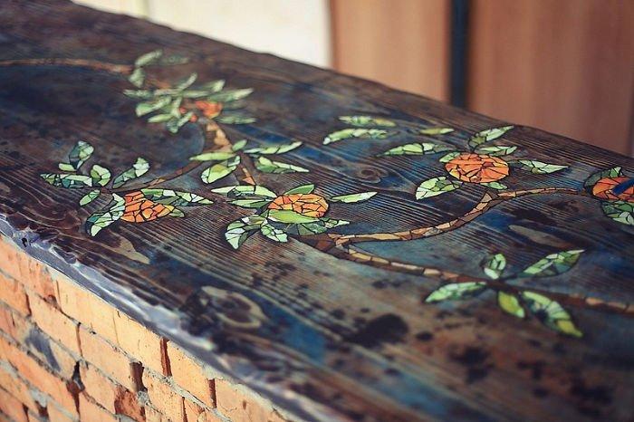 Как сделать столешницу для барной стойки из дерева инкрустированную керамической плиткой