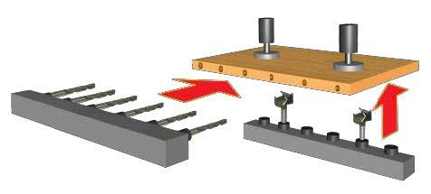 Полуавтоматический сверлильно-присадочный станок FL 213, схема обработки