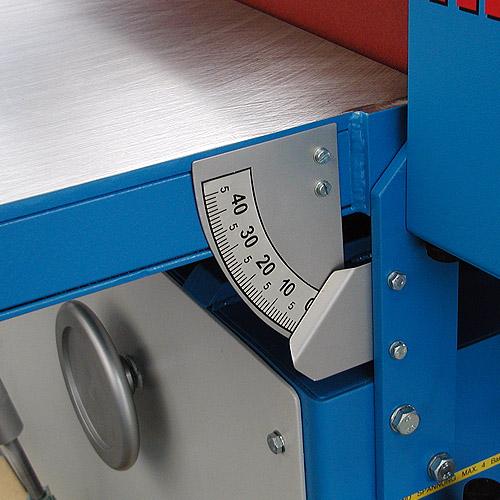 Ленточный шлифовальный станок HB 1000. Наклон стола.