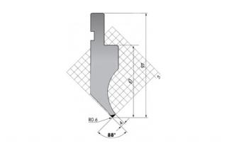 Пуансон для листогибочных прессов P.97-88-R06/F