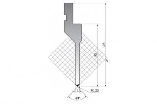 Пуансон прямого типа P.125-88-R025/C