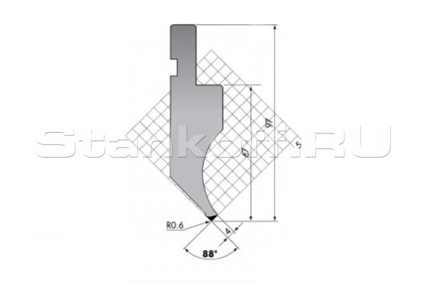 Пуансон для листогибочных прессов P.97-88-R06/F/R