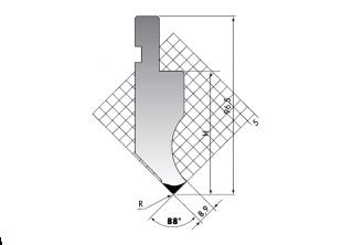 Пуансон для листогибочных прессов P.97-88-R08/F