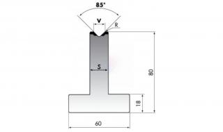 Матрица для гибки средних толщин листового металла T80-16-85/F