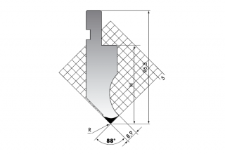 Пуансон для листогибочных прессов PK.97-88-R025/F