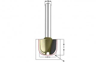 Фреза для желобов и чаш R=6,4 D=19x16 S=8 Arden 215821