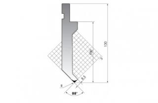 Пуансон для листогибочных прессов P.130-88-R08/F
