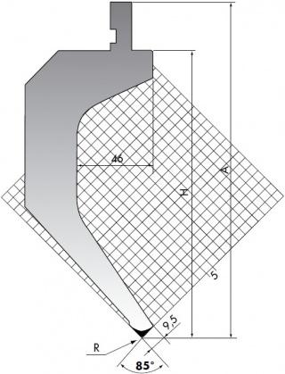 Пуансон для листогибочного пресса TOP.205.85.R08/FA/R