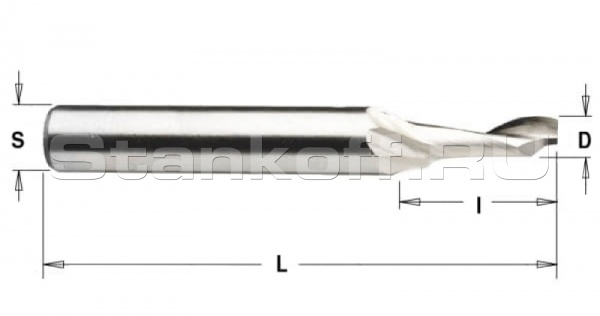 Спиральная фреза Z1 по алюминию HSSL1LX8525 (5*25*8*100)