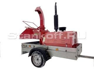 Мобильный измельчитель веток и древесины на одноосном прицепе BOXER DWG-22 G-1