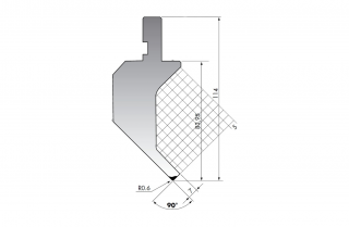 Пуансон для листогибочных прессов PK.114-90-R06/C/R