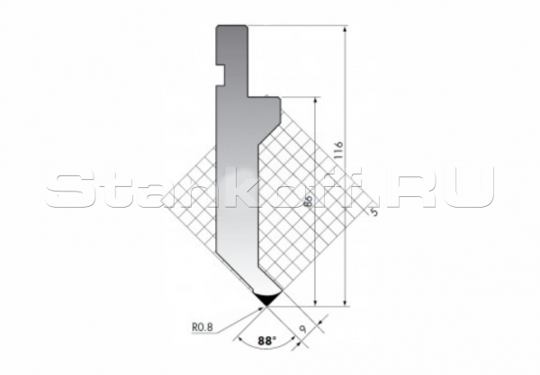Пуансон для листогиба P.116-88-R08/С/R