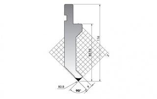 Пуансон прямого типа PK.116-90-R08/F