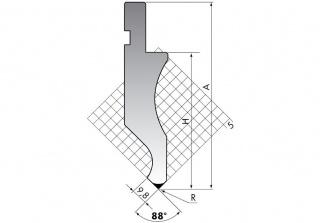 Пуансон для листогибочных прессов D.116-88-R3/F