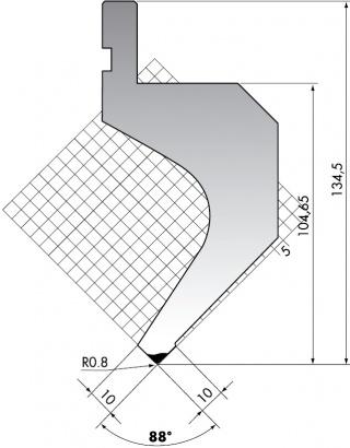 Пуансон для листогибочных прессов PR.135-88-R08/F
