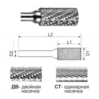 Цилиндрическая борфреза без режущего торца SA1020 ДВ (двойная насечка)
