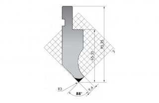 Пуансон для листогибочных прессов P.95-88-R3/F/R