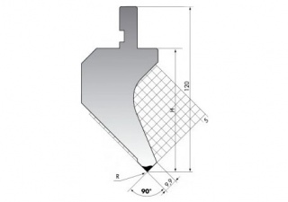 Пуансон для листогибочных прессов PK.120-90-R025/F