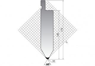Пуансон для листогибочных прессов TOP.175-60-R5/FA/R
