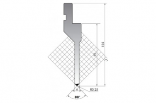 Пуансон прямого типа P.125-88-R025/C/R