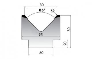Матрица для гибки листового металла M80-85-80/F