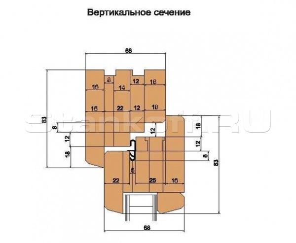 Эконом-комплект фрез «Start», с механическим креплением твердосплавных ножей, для изготовления евроокон с поворотно-откидной фурнитурой (сечение бруса 68х82)