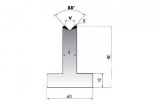 Матрица для гибки малых и средних толщин листового металла TR80-06-88/C