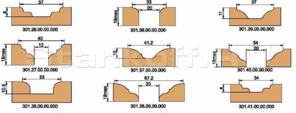Фрезы концевые профильные, напаянные пластинами твердого сплава, для обработки деталей мебели