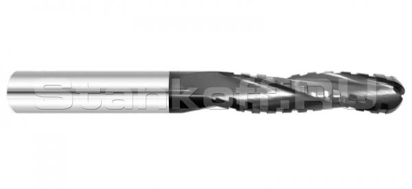 Фреза спиральная трехзаходная сферическая с чистовым стружколомом K3MDQX842 с покрытием ALTiN
