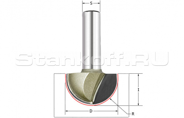 Фреза пазовая полукруг (чаша) Z=2 S=12 R=12,7 D=25,4x19 ARDEN 203241