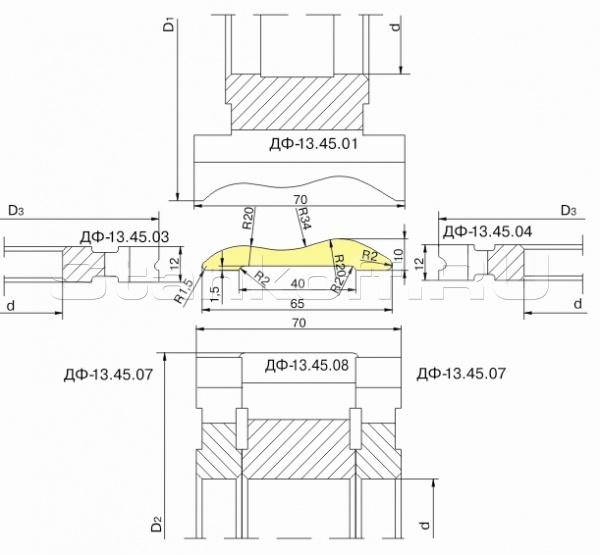 Комплект фрез для изготовления фасонных изделий ДФ-13.45