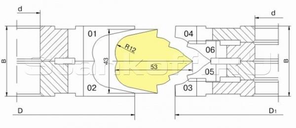 Комплект фрез для изготовления фасонных изделий ДФ-13.55