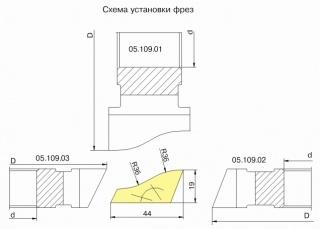 Комплект фрез для изготовления плинтуса ДФ-05.109