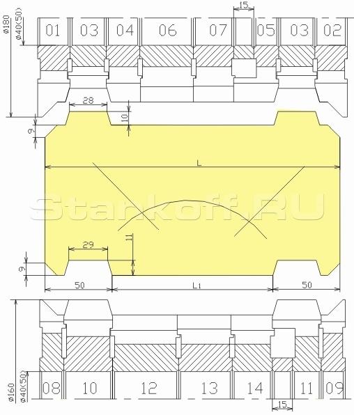 Комплект фрез для изготовления стенового бруса ДФ-18.48
