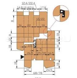 Комплект фрез, напаянных пластинами твердого сплава, для изготовления окон и балконных блоков с поворотно-откидной фурнитурой с сечением бруса 68 и 78 мм