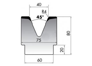 Матрица для гибки средних и больших толщин листового металла M80-45-40/C