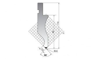 Пуансон для листогибочных прессов DK.116-90-R08/C/R