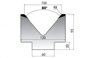Матрица для гибки листового металла M95-80-100/F
