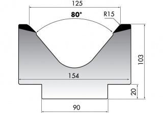 Матрица для гибки больших толщин листового металла M103-80-125/F