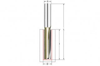 Фреза прямая пазовая с врезным зубом Z2+1 D=8x30x65 S=8 ARDEN 105807