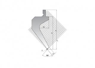 Пуансон для листогибочных прессов TOP.175-75-R08/FA/R